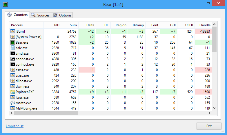 Bear::See GDI/User Object usage of all processes - the sz