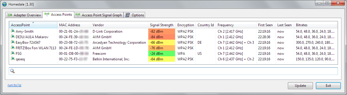 Homedale::Wi-Fi / WLAN Monitor - the sz development